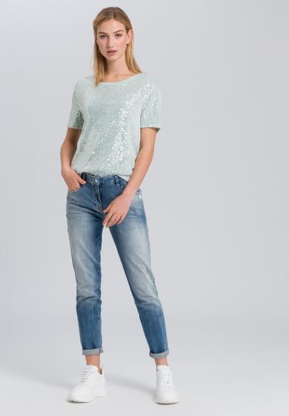 Blue Jeans mit Batiksaum
