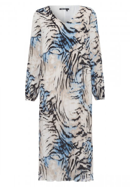Pleated dress with abstract animal print