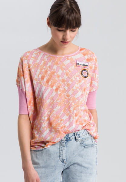 Boxy-Pullover mit Batikprint