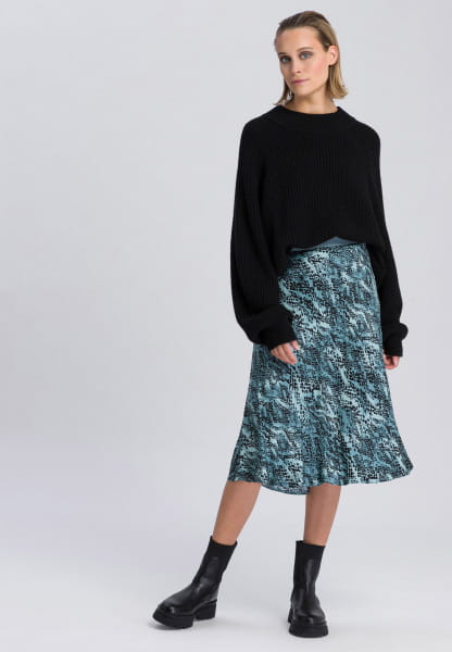 Midi skirt with detailed reptile print
