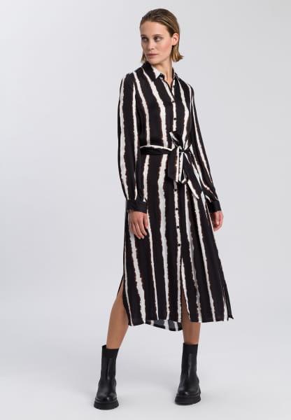 Shirt dress with batik stripes