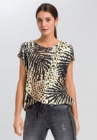 Strickshirt mit Tropical-Print