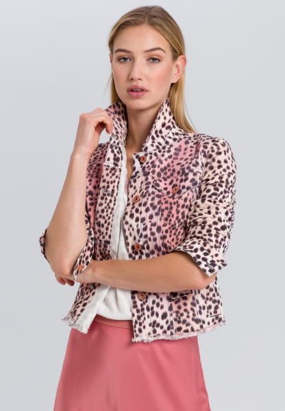 Denim jacket in leopard-style