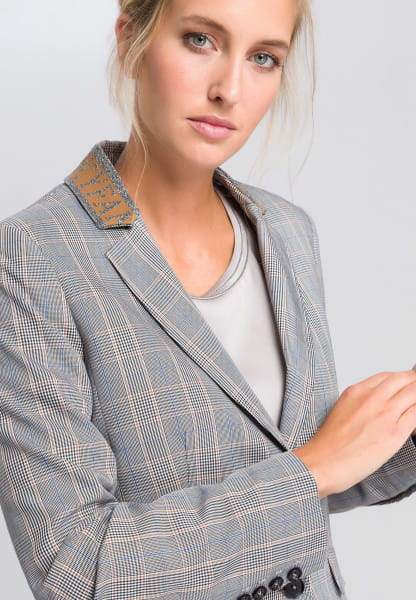 Glencheck blazer with embroidered badge