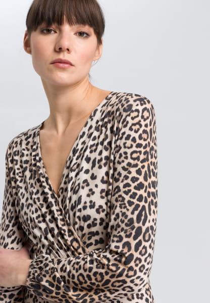 Jersey dress with leo-print