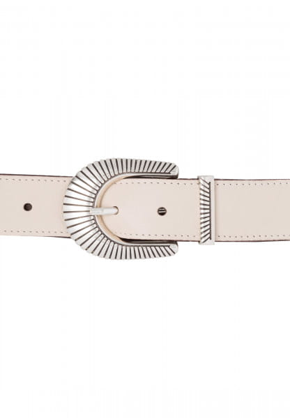 Nappa belt with art deco buckle