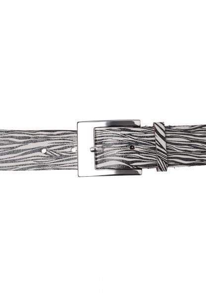 Belt with shiny zebra print