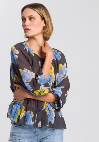 Bluse mit Ethno-Blumen-Druck
