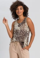 Blouse top with leaf-print