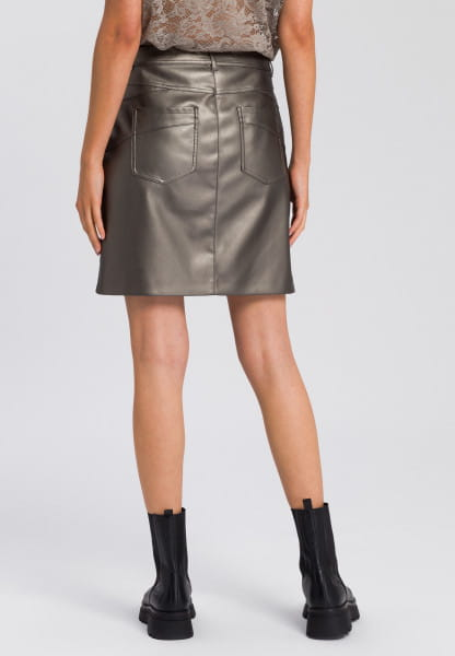 Biker skirt made from vegan faux leather