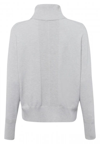 Turtleneck sweater with ribbed contrasting elements