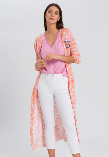 Long cardigan with embroidered badges