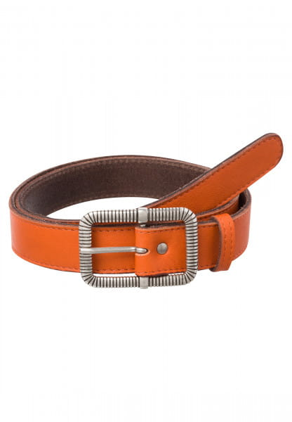 Leather belt with angular metal buckle