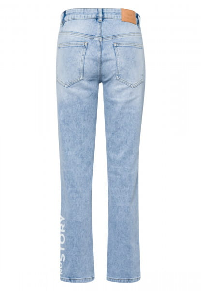 5-pocket jeans made from recycled demin with destroyed-details