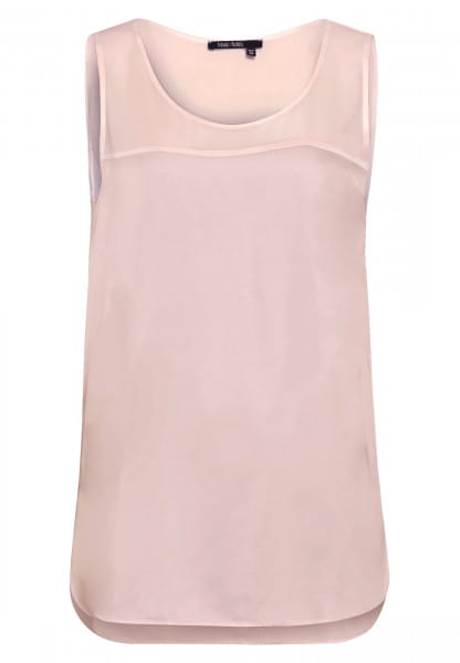 Satin top with transparent carriers