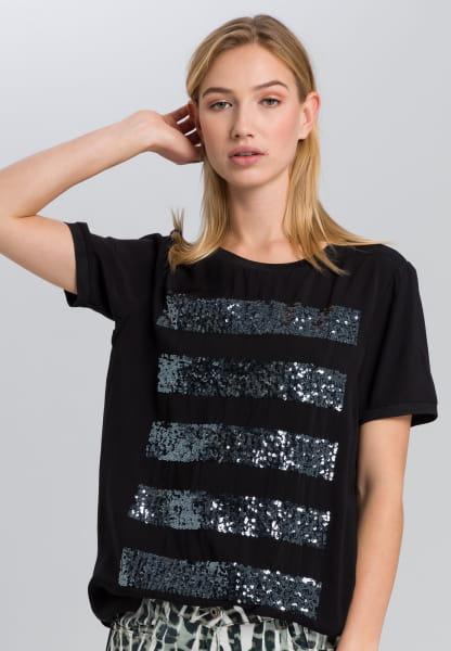 T-Shirt mit Paillettenringel