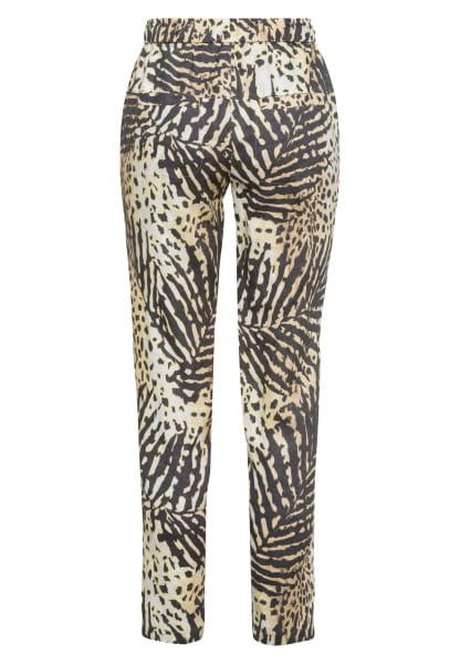 Linen trousers mit Tropical-Print