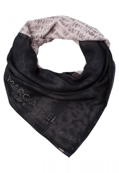Patchwork scarf with rhinestones