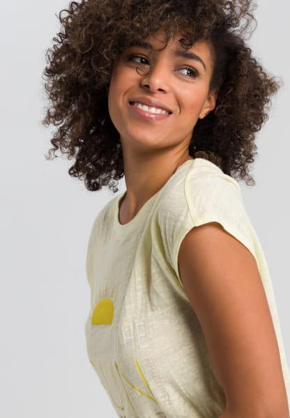 Linen shirt with statement print