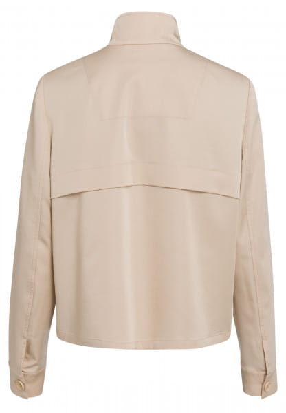 Short jacket with stand-up collar and stripe