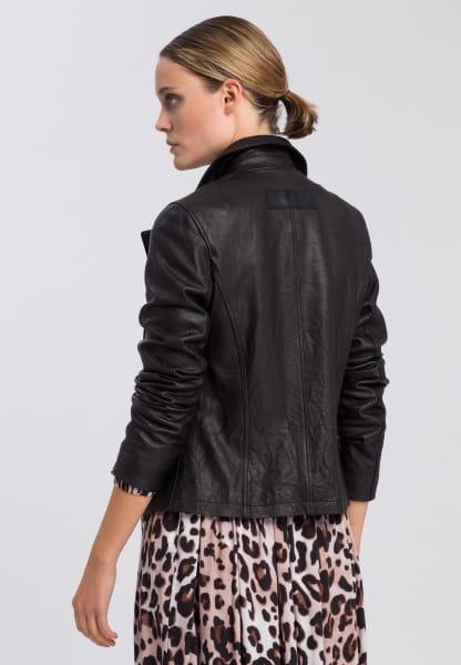 Biker jacket made from crashed leather