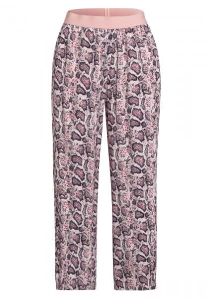 Pyjama bottoms with dark snake print (shortened)