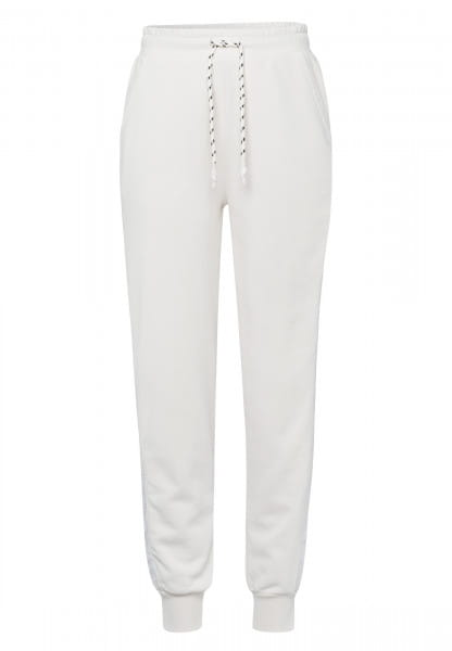 Sweatpants made from sweat jersey with satin stripes
