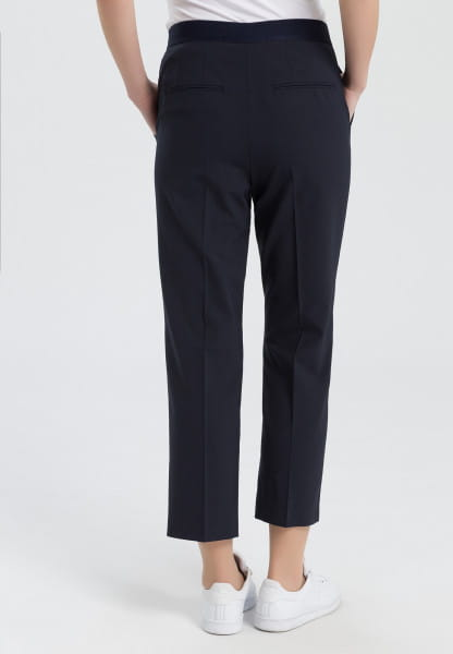 Fabric trousers with an elastic waistband