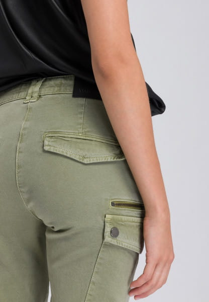 Cargo pants with long zipper inserts