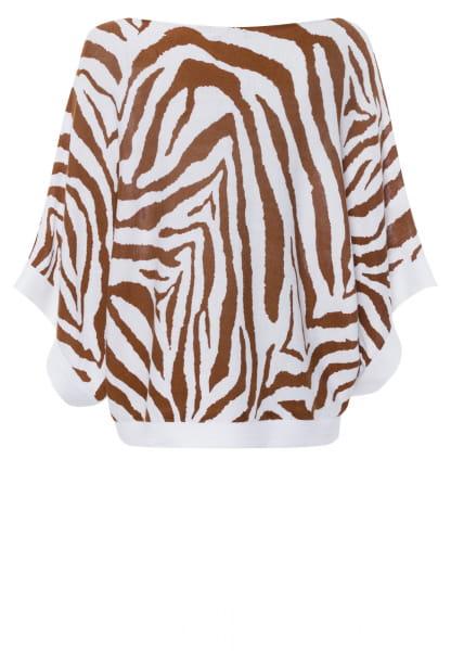 Poncho-Pullover mit Tigermuster