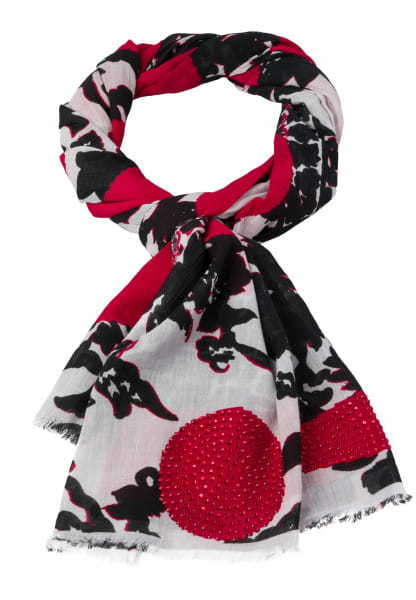 Scarf with ethno flower print