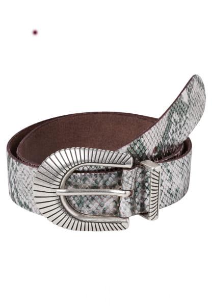 Belt with iridescent reptile print