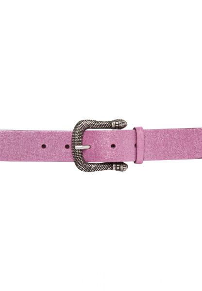 Leather belt in glittering look