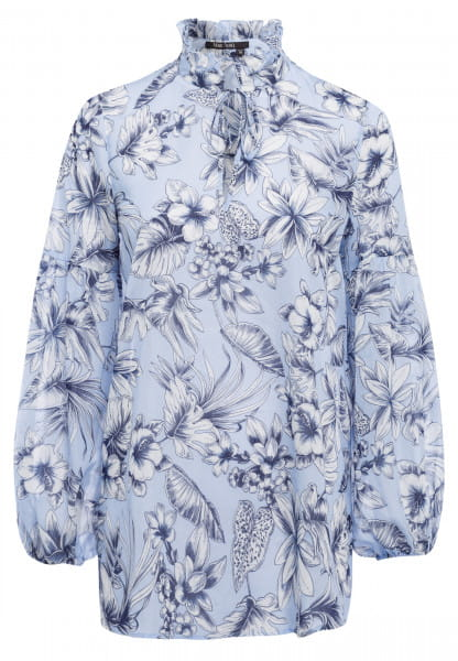 Blouse with Stand-Up Collar with floral print