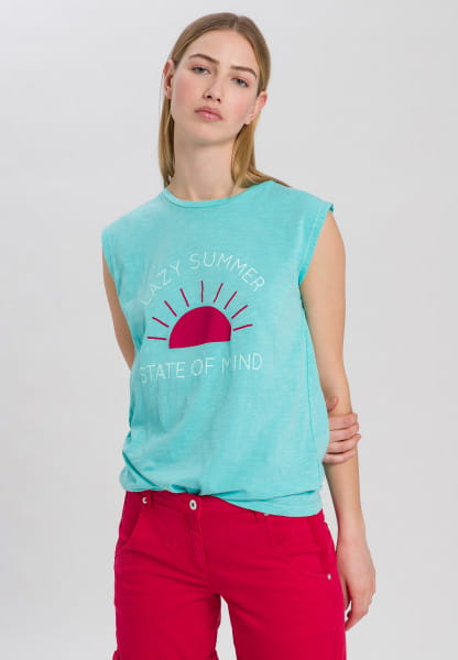 Shirt with summery front print