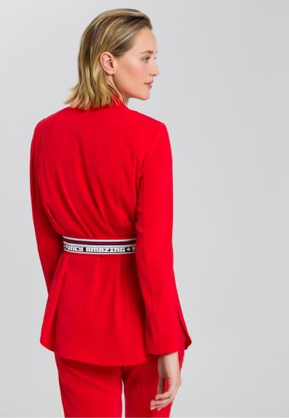 Blazer from elastic satin with belt