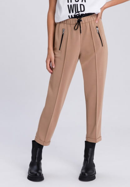 Lounge pants with waistband in two-layer look