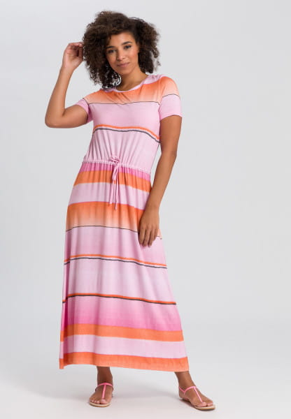 Jersey dress with colour-block stripes