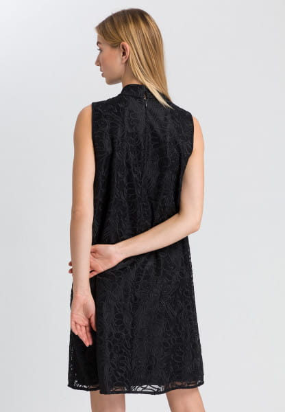 Embroidered dress with stand-up collar