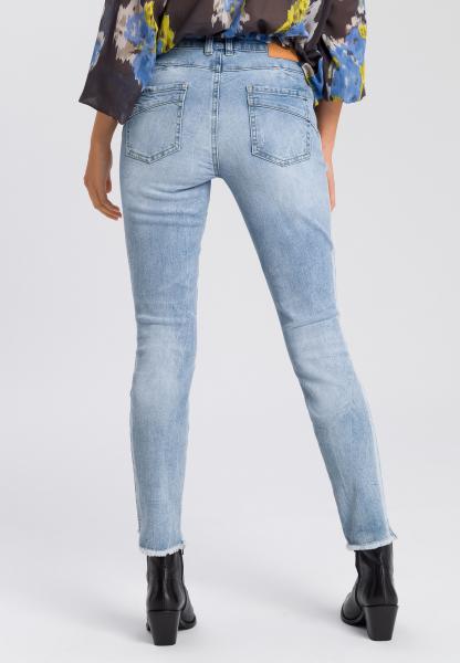 5-Pocket-Jeans with fringed hem