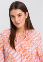 Blouse with Stand-Up Collar with Batik-print