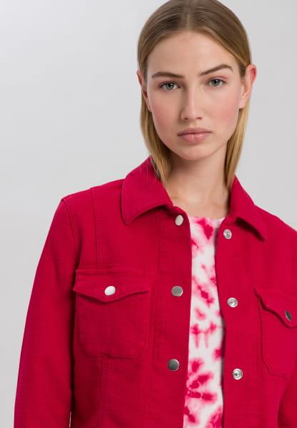 Jeans jacket with fringed hem