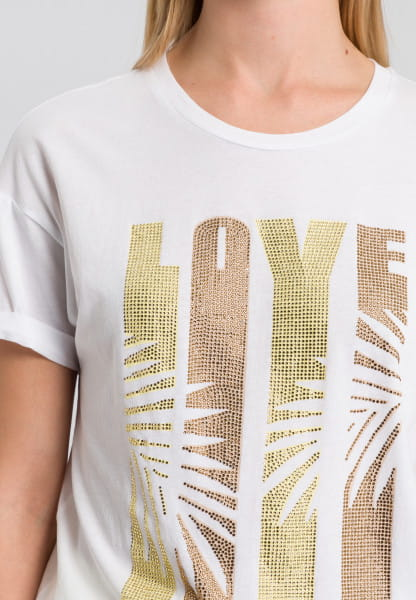 T-shirt with sequin lettering