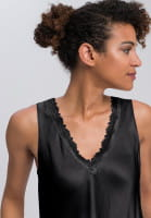 Satin top with lace neckline