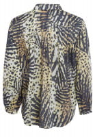 Shirt blouse with tropical-print