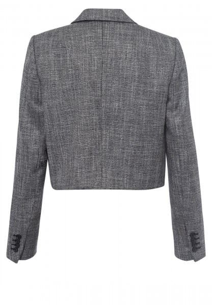 Short blazer with tartan