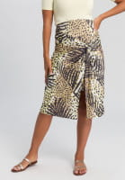 Jersey skirt with tropical print