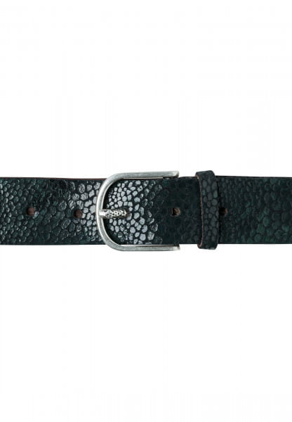 Belt with shimmering reptile print