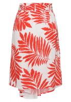 Pleated skirt with leaf print