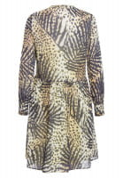 Blouse dress with tropical-print